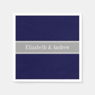 Serviettes Jetables Bleu marine solide, monogramme gris-foncé de nom