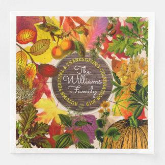 Serviettes Jetables Bois de cru de collage de feuille d'automne