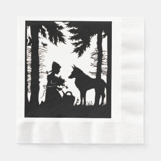 Serviettes Jetables Bois rouges de loup de capuchon de silhouette