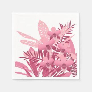 Serviettes Jetables Bouquet des plantes tropicales roses