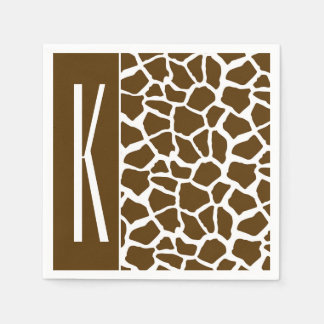Serviettes Jetables Brown et poster de animal blanc de girafe