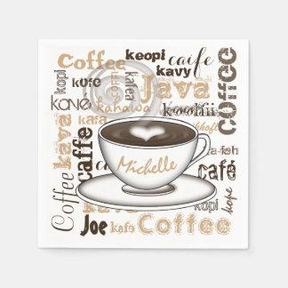Serviettes Jetables Café autour du nom du monde