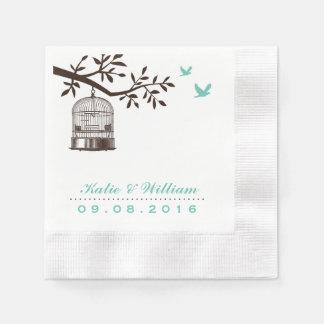 Serviettes Jetables Cage à oiseaux rustique de turquoise épousant la