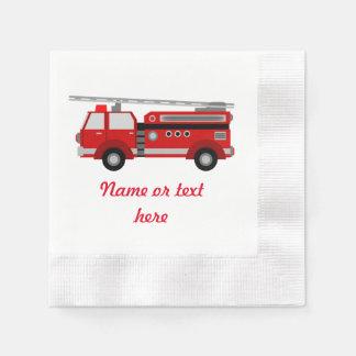 Serviettes Jetables Camion de pompiers rouge avec le texte