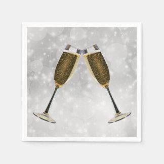 Serviettes Jetables Célébration en verre de Champagne sur l'argent