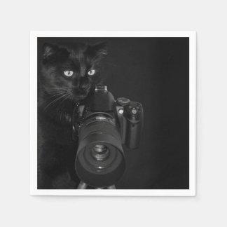 Serviettes Jetables Chat noir drôle avec l'appareil-photo