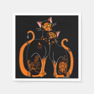 Serviettes Jetables Chats de motif de saule de Halloween