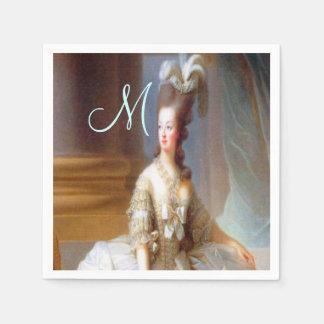 Serviettes Jetables Chic français élégant de monogramme de Marie