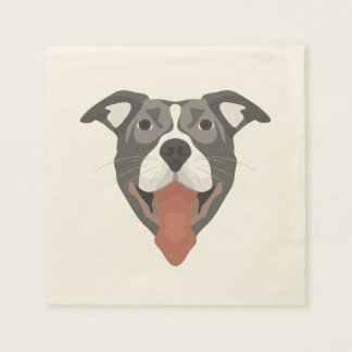 Serviettes Jetables Chien Pitbull de sourire d'illustration