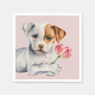 Serviettes Jetables Chiot de pitbull tenant la peinture de fleur de