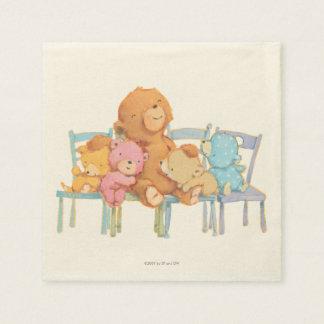 Serviettes Jetables Cinq câlins et colorés concerne des chaises