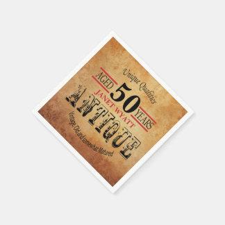 Serviettes Jetables Cinquantième conception d'anniversaire d'antiquité
