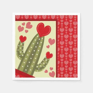 Serviettes Jetables Coeurs de rouge de cactus de serviettes de papier