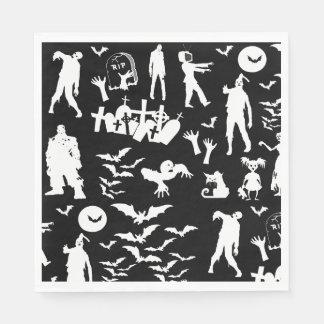 Serviettes Jetables Collage coordonné Halloween mort de marche de
