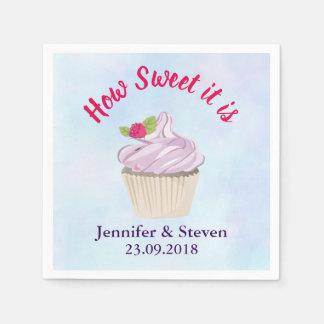 Serviettes Jetables Comme il doux est mariage rose de petit gâteau