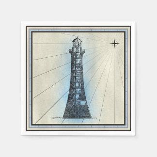 Serviettes Jetables Copie marine de phare noir avec le cadre bleu