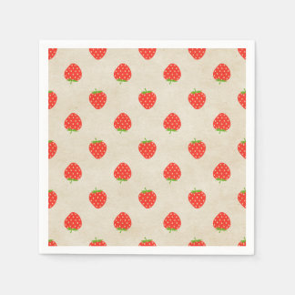Serviettes Jetables Copie rustique Girly vintage de fraises de fraise