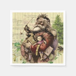 Serviettes Jetables Copie vintage d'art du père noël de Noël