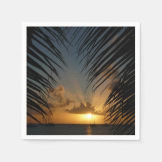 Serviettes Jetables Coucher du soleil par le paysage marin tropical de