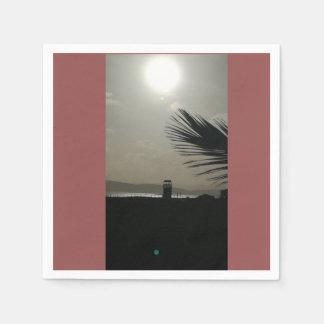 Serviettes Jetables Coucher du soleil sur la plage de Poetto