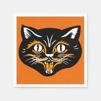 Serviettes Jetables Crocs classiques vintages de visage de chat noir