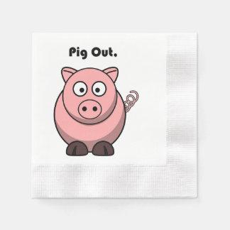 Serviettes Jetables De porc bande dessinée rose porcine ou de porc de