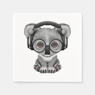 Serviettes Jetables Écouteurs de port mignons du DJ d'ours de koala de