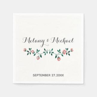 Serviettes Jetables Épouser de floraison de roses d'aquarelle moderne