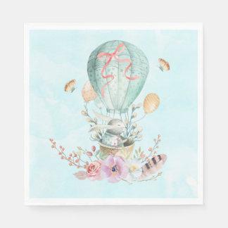 Serviettes Jetables Équitation lunatique de lapin dans un ballon à air