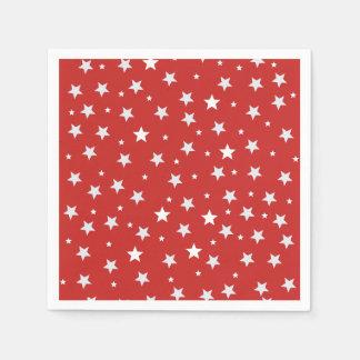 Serviettes Jetables Étoiles de blanc sur le rouge