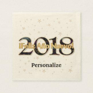 Serviettes Jetables ¡ Feliz Año Nuevo ! Or de 2018 feux d'artifice