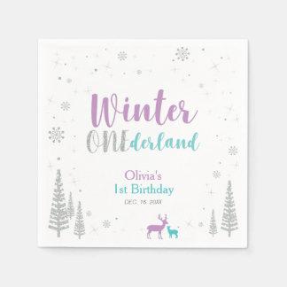 Serviettes Jetables Fête d'anniversaire d'Onederland d'hiver pourpre