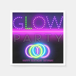 Serviettes Jetables Fête d'anniversaire noire de lampes au néon de