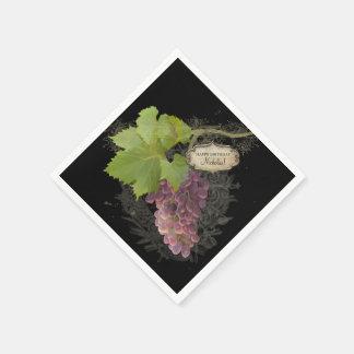 Serviettes Jetables Fête d'anniversaire orientée de vin élégant