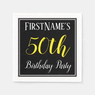 Serviettes Jetables Fête d'anniversaire simple et cinquantième avec le