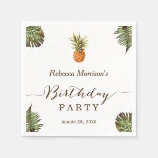 Serviettes Jetables Fête d'anniversaire tropicale d'été d'ananas de