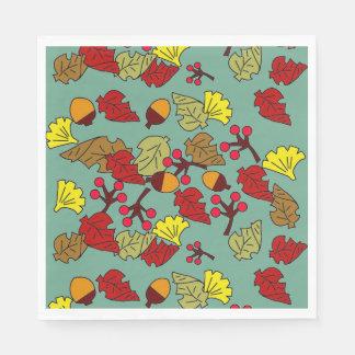 Serviettes Jetables Feuillage d'automne, glands, et couleur de coutume