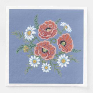 Serviettes Jetables Fleurs de marguerite et de pavot