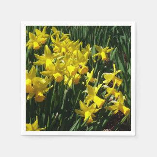 Serviettes Jetables Fleurs gaies de ressort des jonquilles I jaune