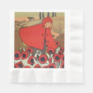 Serviettes Jetables Fleurs rouges vintages de pavot de loup de
