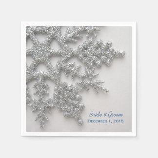 Serviettes Jetables Flocons de neige argentés épousant les serviettes