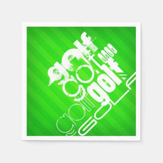 Serviettes Jetables Golf ; Rayures vertes au néon