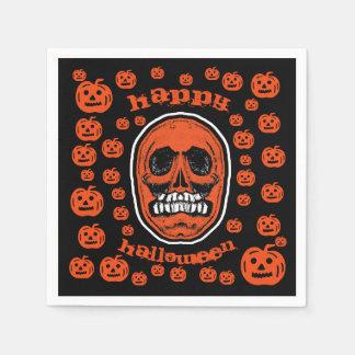 Serviettes Jetables Halloween heureux - crâne 2 de dents de broyeur