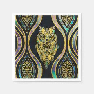 Serviettes Jetables Hibou tribal d'or sur le motif d'ormeau de Boho