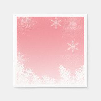Serviettes Jetables Hiver élégant de pin de flocon de neige de rose de