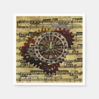 Serviettes Jetables Horloges grunges et vitesses de Steampunk