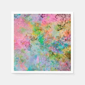 Serviettes Jetables Image de marbre abstraite de couleurs au néon
