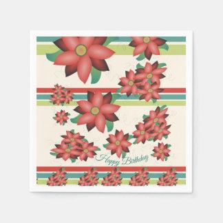 Serviettes Jetables Jolies serviettes fleuries en rouge de grange