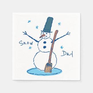 Serviettes Jetables Jour de neige de bonhomme de neige