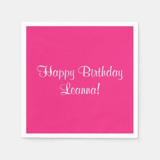 Serviettes Jetables Joyeux anniversaire rose Leanna (nommé)